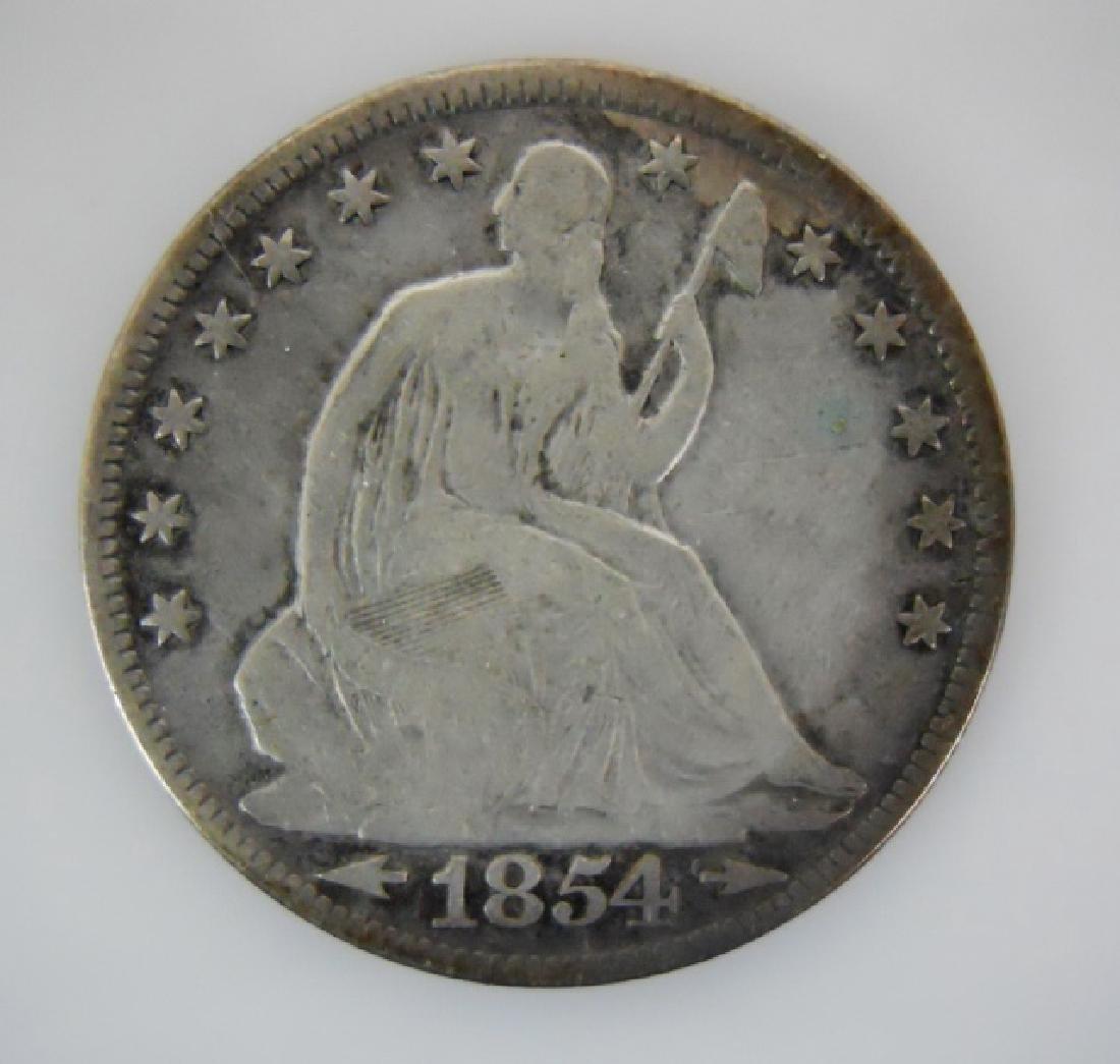 Two Seated Liberty Half Dollars, 1850-O, 1854 - 4
