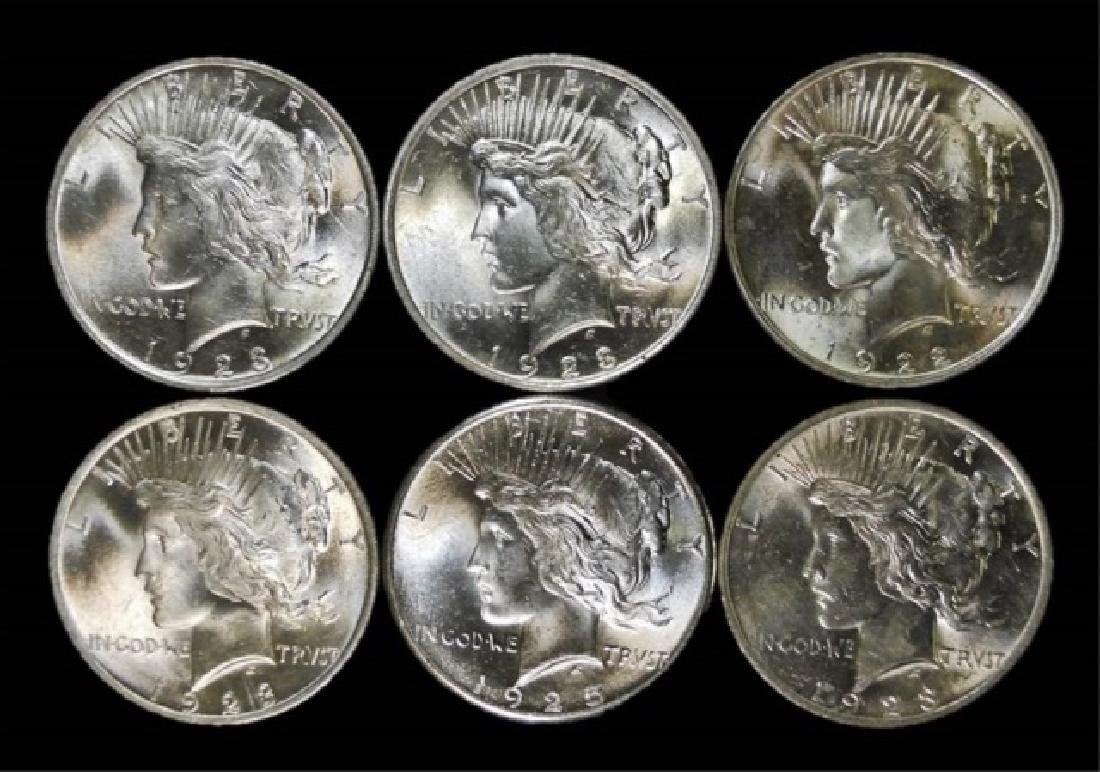 Collection, US Peace Silver Dollars, BU, (6pc)
