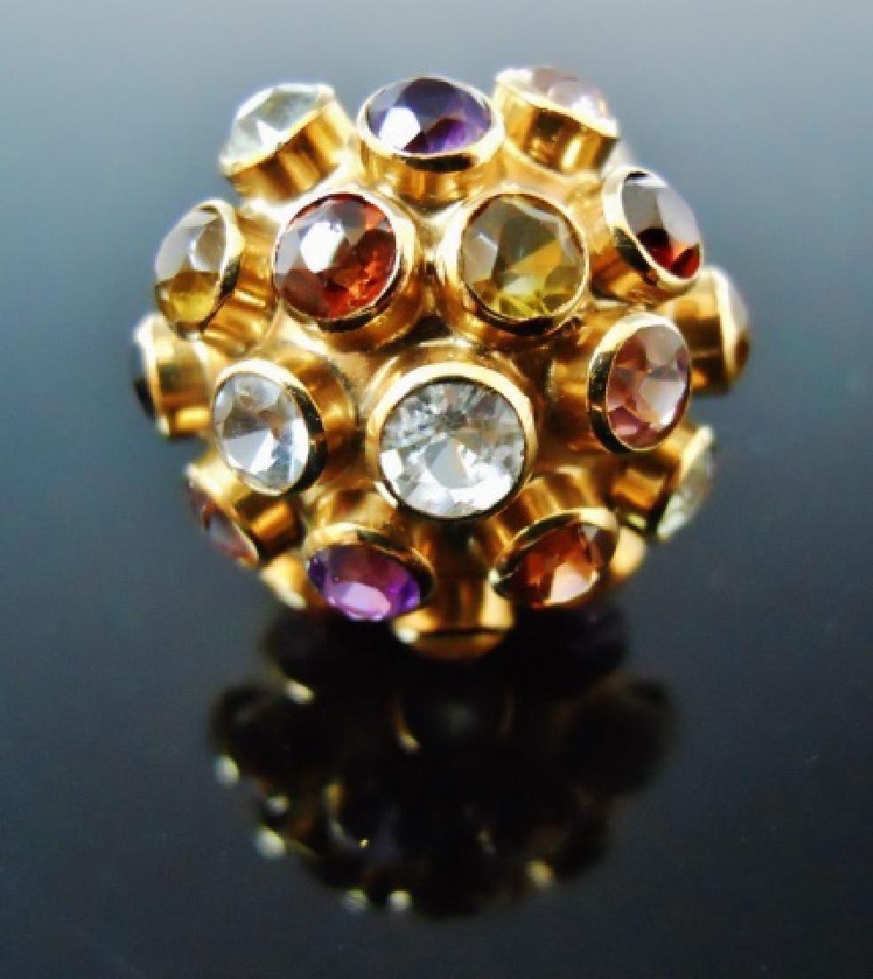 Ladies 14K Gold Ring, Set with Stones