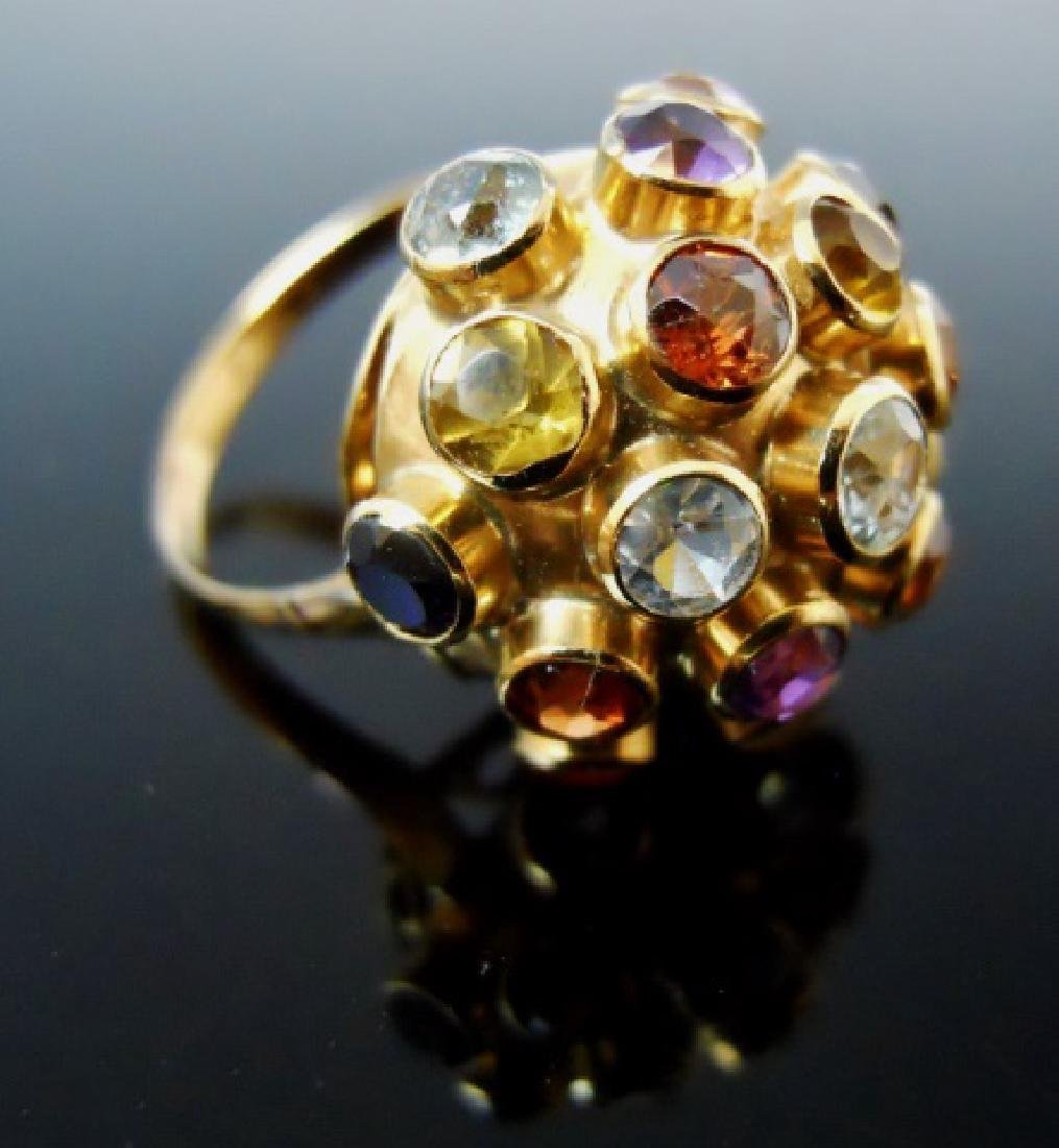 Ladies 14K Gold Ring, Set with Stones - 2
