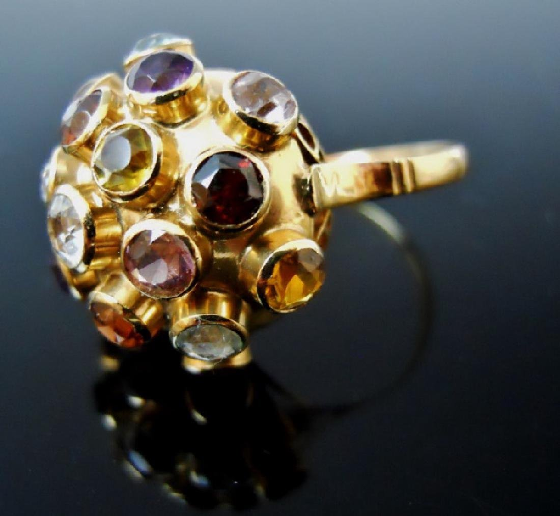 Ladies 14K Gold Ring, Set with Stones - 3