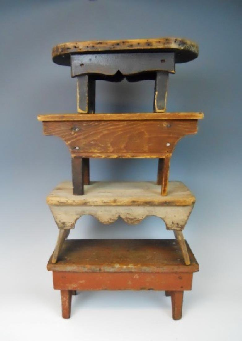 Collection 19th C.  Stools Old Paint (4pc)