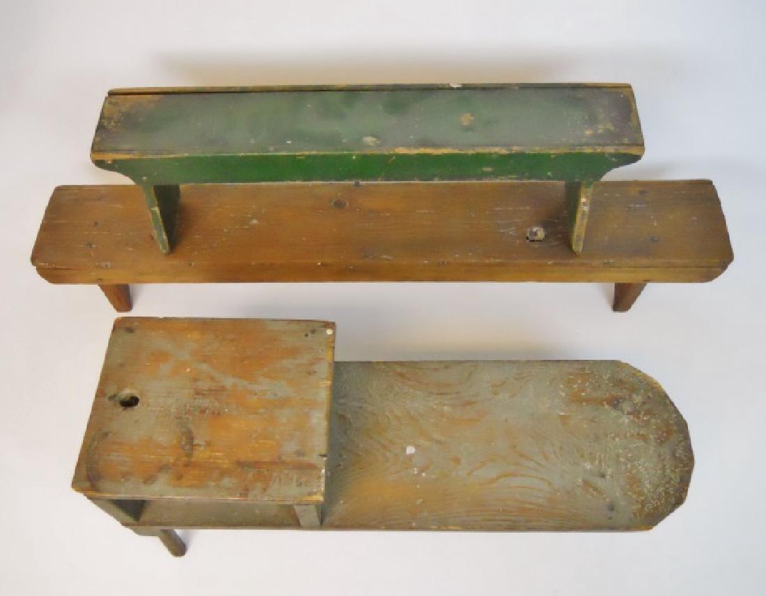 19th C.  Primitive Stools, Cobbler's Bench (3pc)