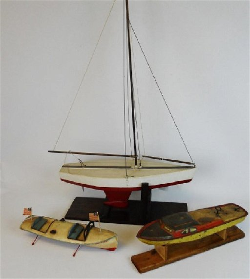 Vintage Tin Toy Boats and Model Pond Boat (3pc)