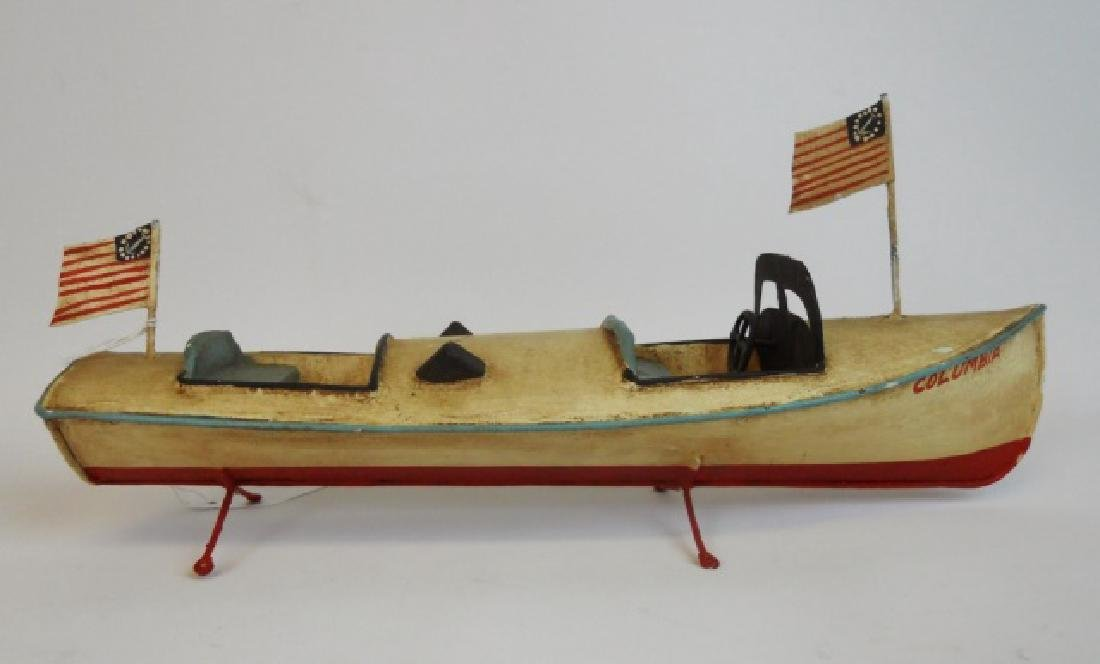 Vintage Tin Toy Boats and Model Pond Boat  (3pc) - 3