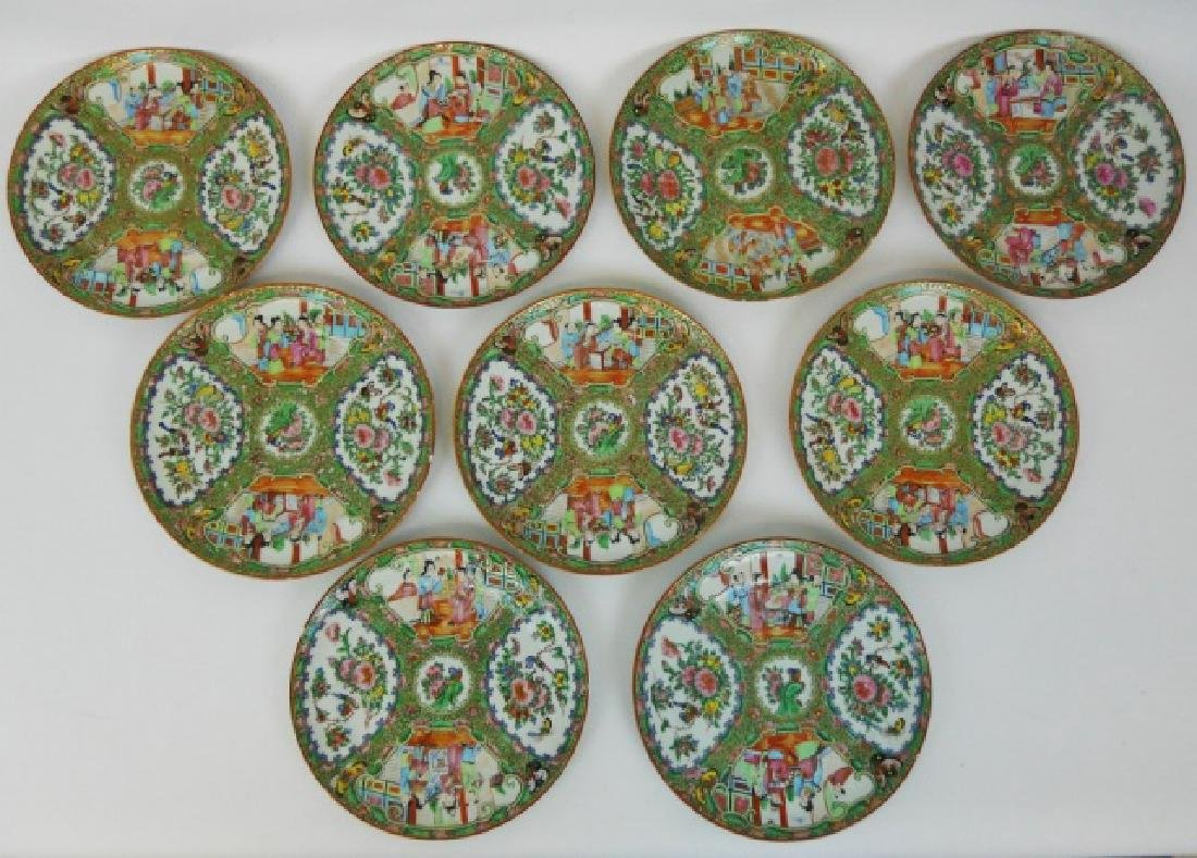 19th C. Chinese Rose Famille Plates (11 pc)