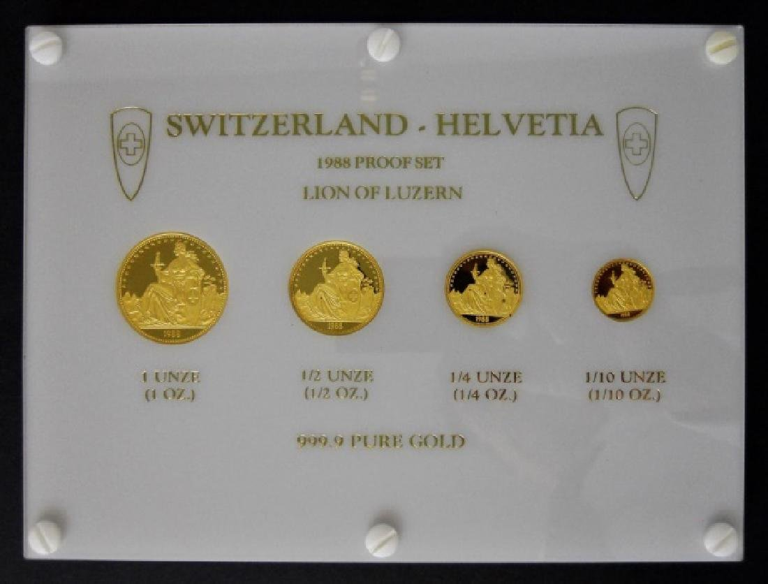 Swiss 1988 Lion of Luzanne Gold Proof Set (4pc)