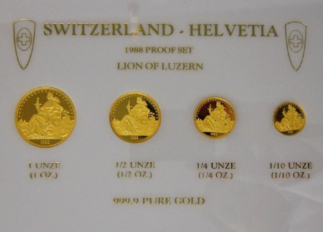 Swiss 1988 Lion of Luzanne Gold Proof Set (4pc) - 4