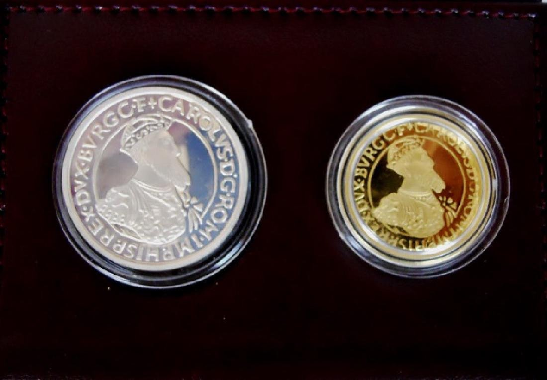 1987 Belgium Ecu Gold and Silver Proof Set, (2pc)