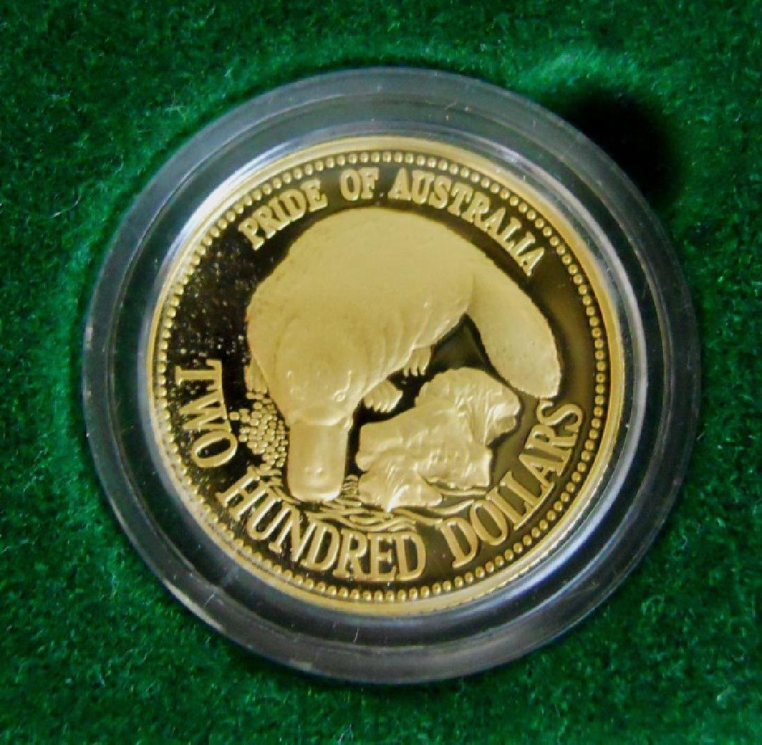 1990 Australia $200 Proof Gold Platypus Coin - 4