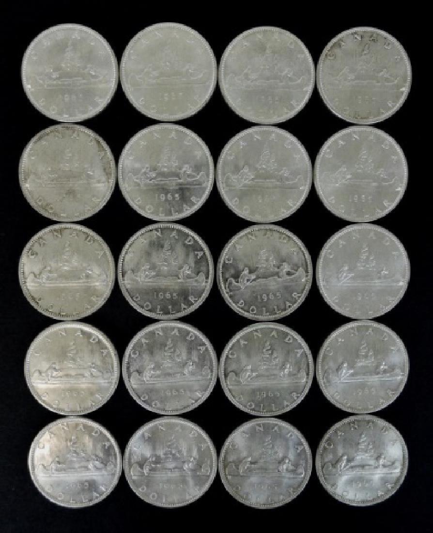 Roll of 1965 Canada Silver Dollars, BU, (20pc) - 2