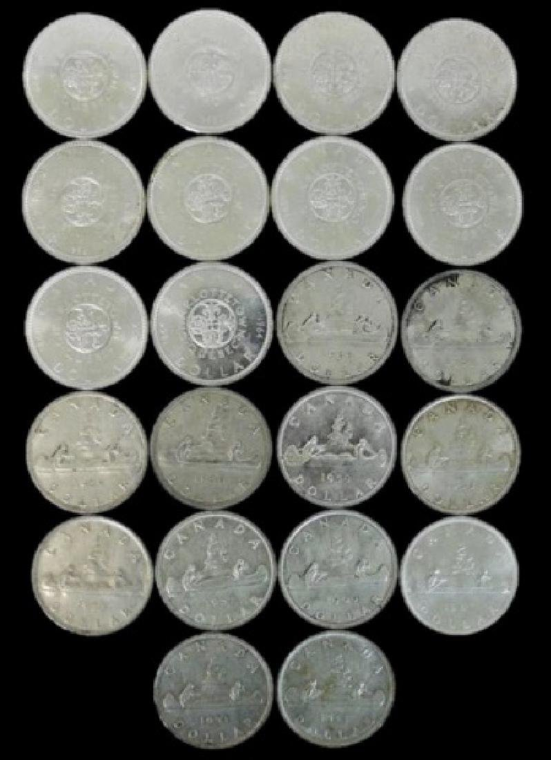 Roll of Mixed Date Canada Silver Dollars, (22pc) - 2