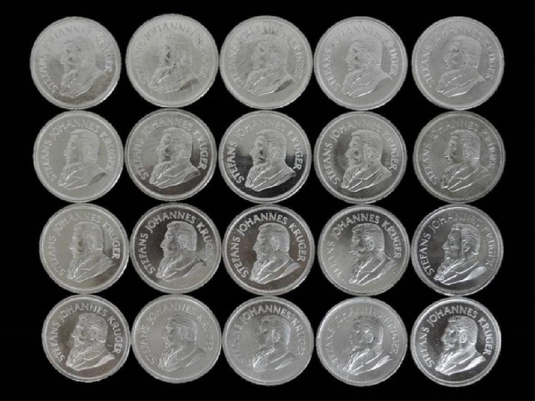 Roll S. Africa Krugerrand Silver Coins, BU (20pc)