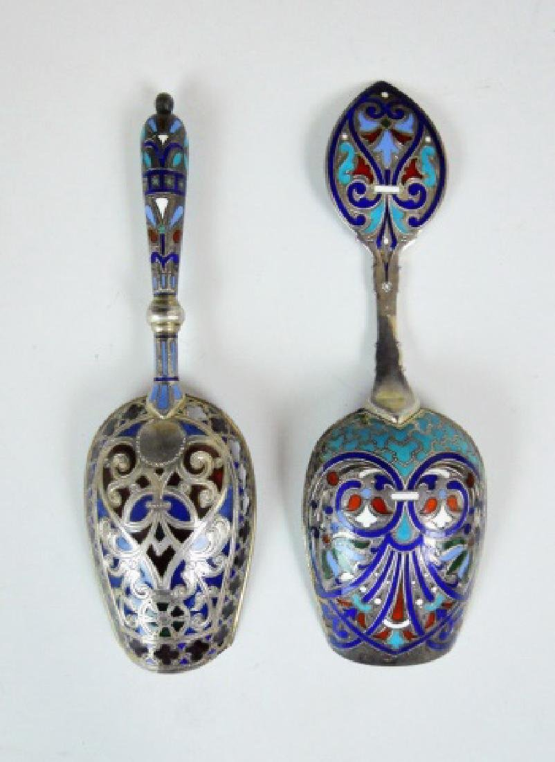 Russian Silver and Champleve Sugar Scoops, (2pc)