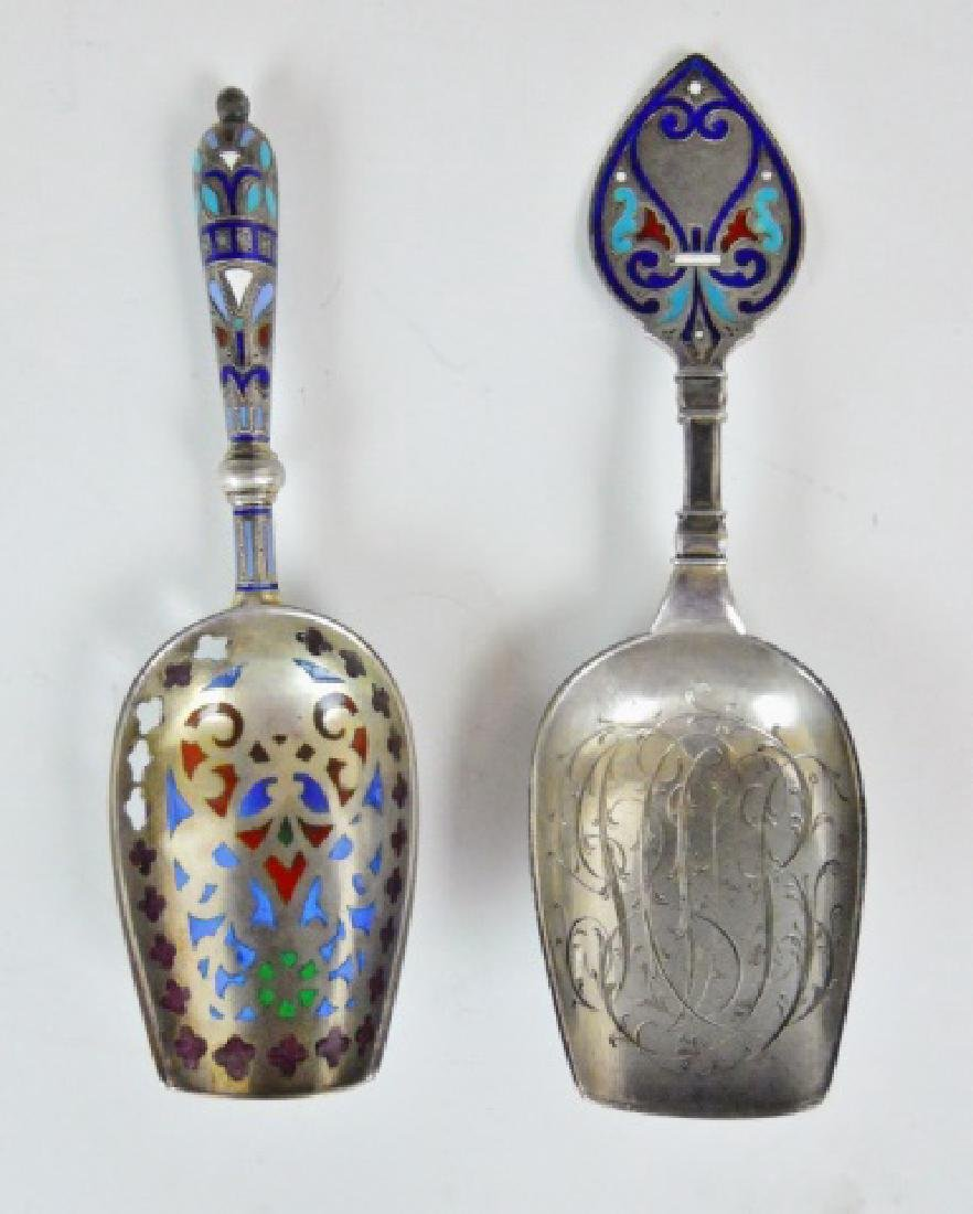 Russian Silver and Champleve Sugar Scoops, (2pc) - 2