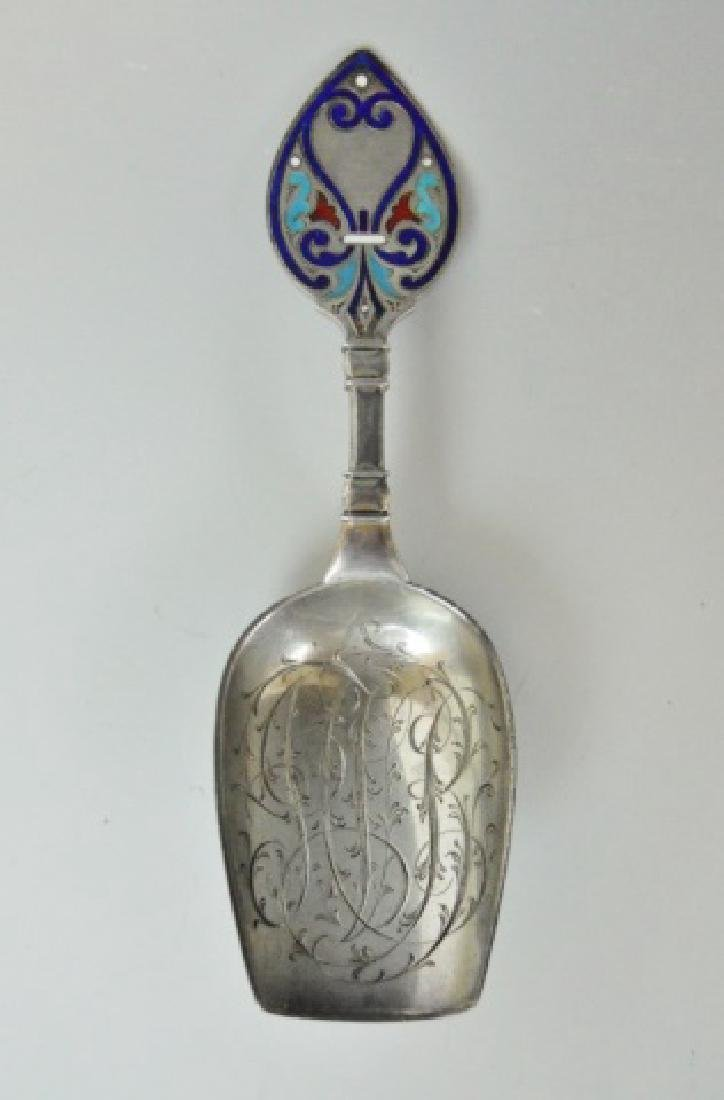 Russian Silver and Champleve Sugar Scoops, (2pc) - 6