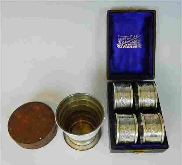 Telescoping Sterling Cup, Napkin Rings, (5pc)