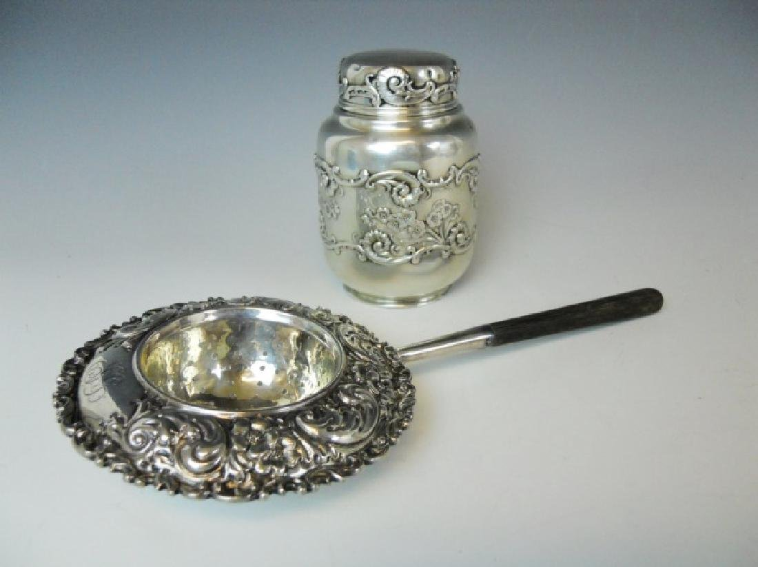 Sterling Silver Tea Strainer and Tea Caddy (2pc)
