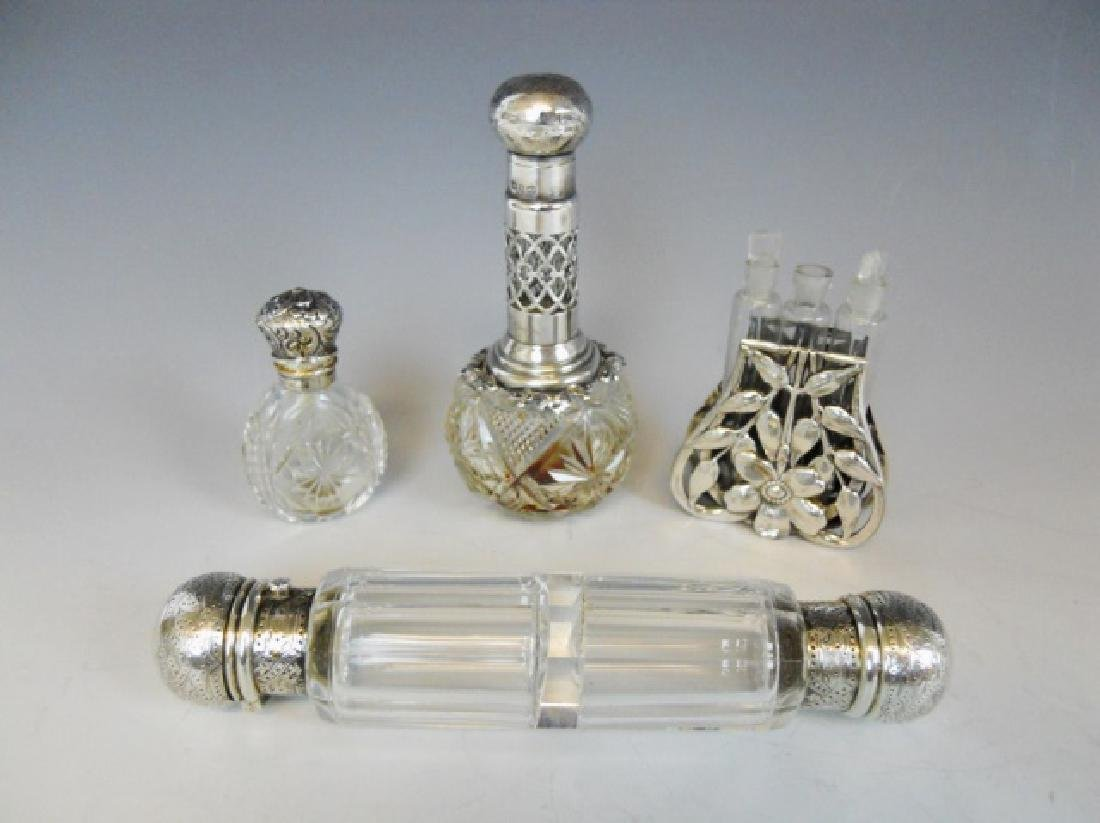 English Glass, Silver Perfume Bottles, (4pc)