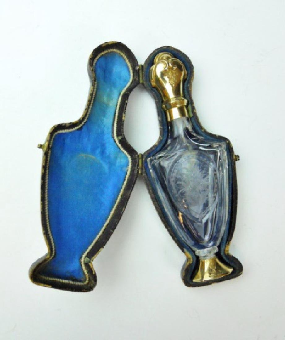 Antique Silver, Gold Cased Perfume Bottles (2pc) - 2