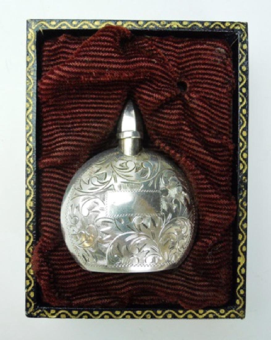 Antique Silver, Gold Cased Perfume Bottles (2pc) - 4