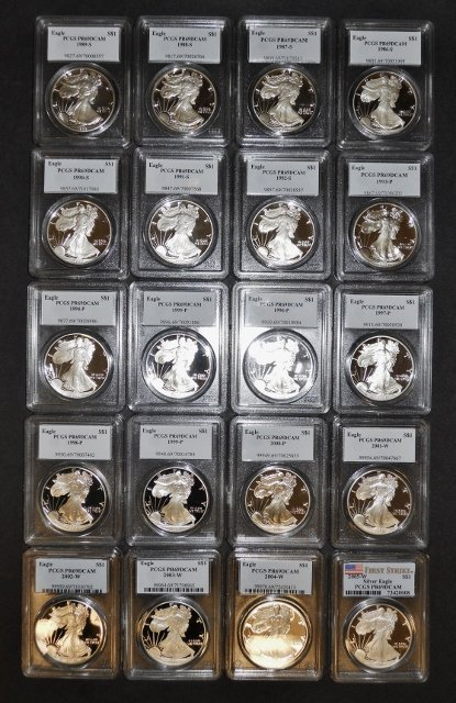US Silver Eagles PCGS PF69 DCAM, 1986-2005, (20pc)