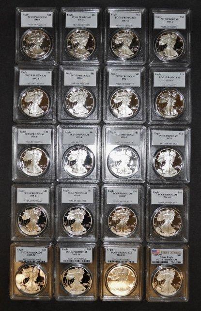 US Silver Eagles PCGS PF69 DCAM, 1986-2005, (20pc)