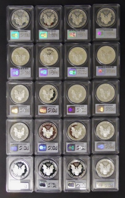 US Silver Eagles PCGS PF69 DCAM, 1986-2005, (20pc) - 2