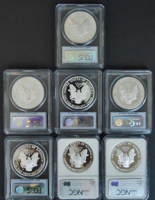 US Silver Eagles, PCGS, NGC PF69, (7pc) - 2