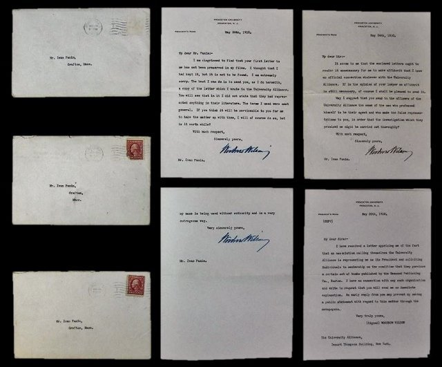 Woodrow Wilson Autographed Correspondence, (7pc)