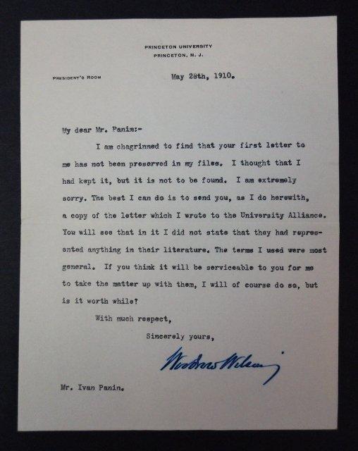 Woodrow Wilson Autographed Correspondence, (7pc) - 2