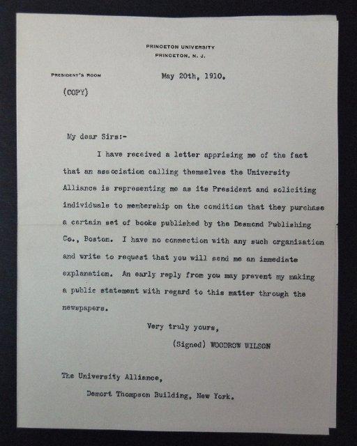 Woodrow Wilson Autographed Correspondence, (7pc) - 3