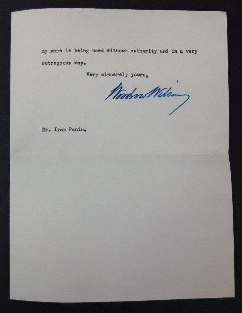 Woodrow Wilson Autographed Correspondence, (7pc) - 4
