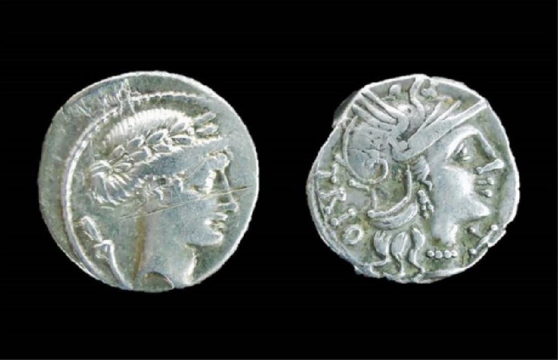 Roman Republic Silver Denarius Coins, (2pc)