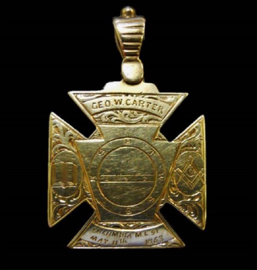 14K Gold Masonic Watch Fob, May 11th, 1863