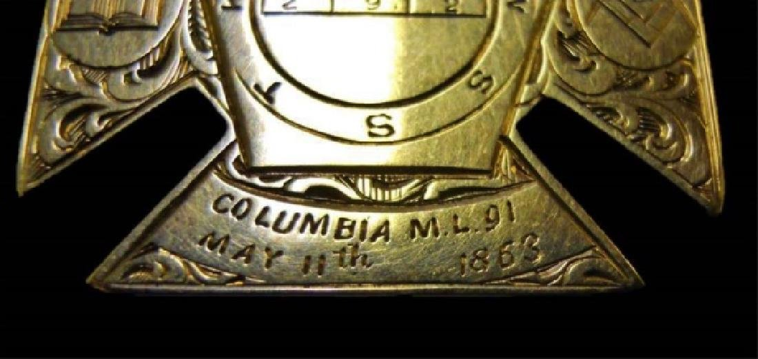 14K Gold Masonic Watch Fob, May 11th, 1863 - 3