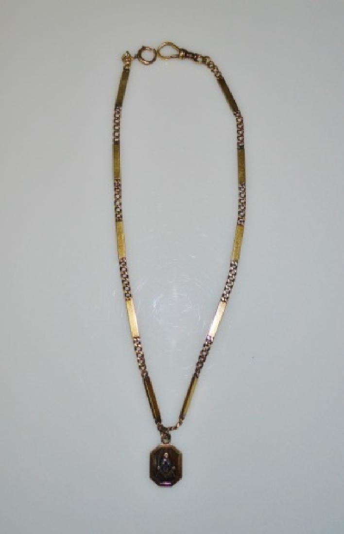 Antique 14K Gold  Watch Chain with Masonic Fob