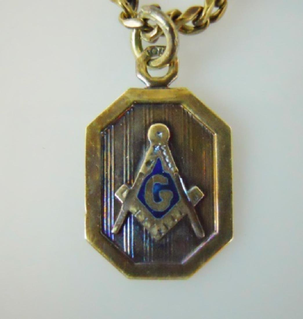 Antique 14K Gold  Watch Chain with Masonic Fob - 2
