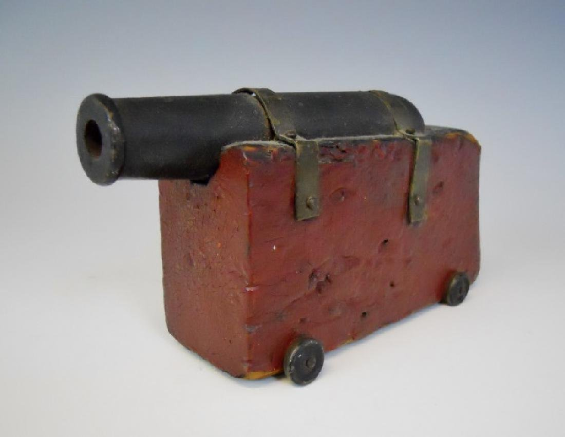 19th C. Primitive Wood and Iron Signal Cannon