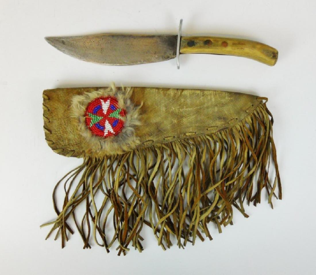 Antique Native American Stag Knife Buckskin Sheath