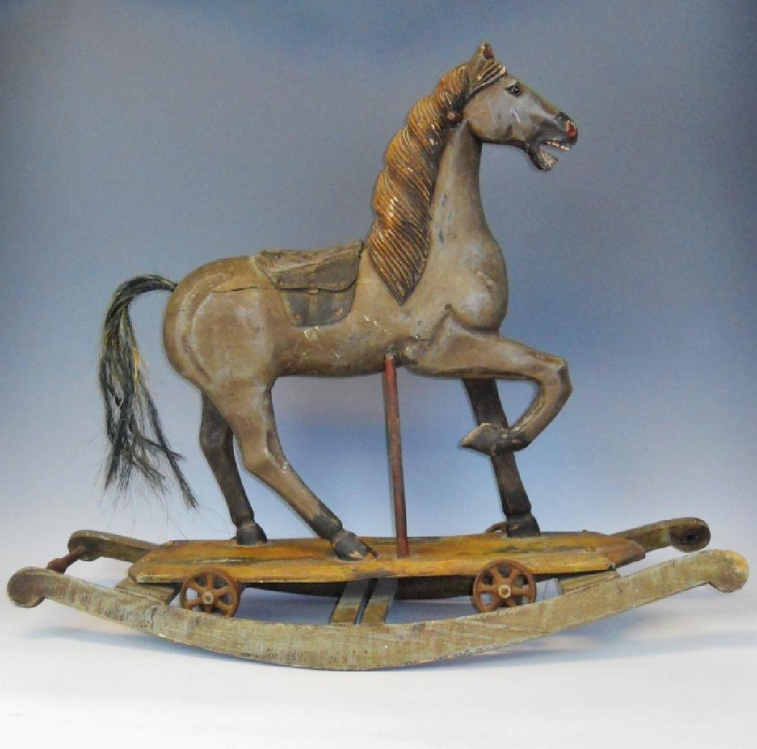 19th C. Carved Wood Rocking Horse in Period Paint