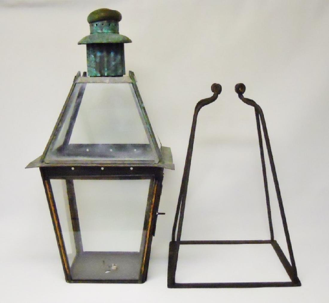 19th C. Copper City Gas Light with Iron Bracket