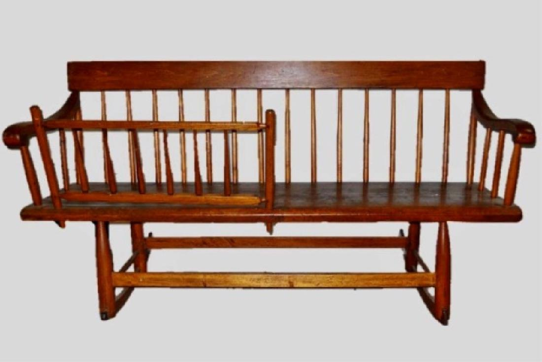 19th C. Pine Mammy  Bench with Removable Rail