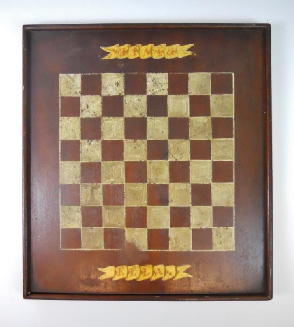 19th C. Primitive Hand Painted Game Board