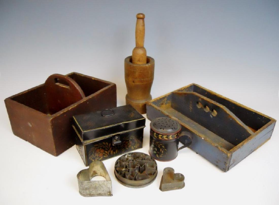 Primitive Carriers, Tole and Tinware (9pc)