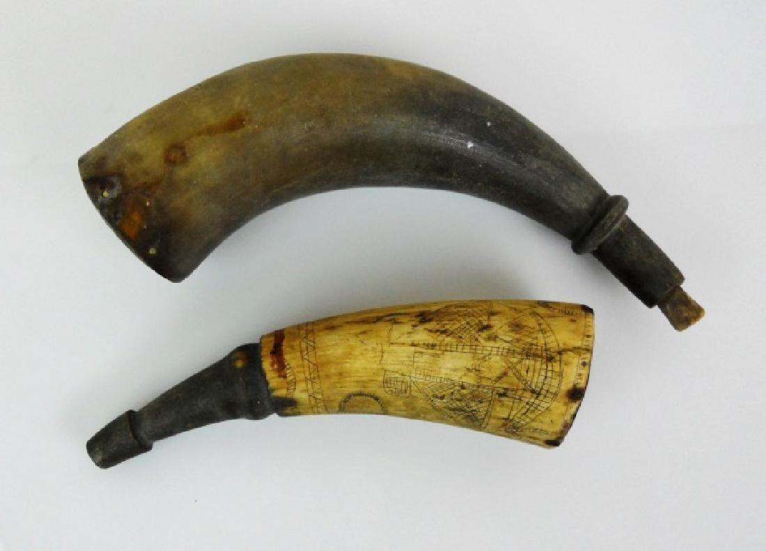 18th-19th C. Powder Horns, (2pc)