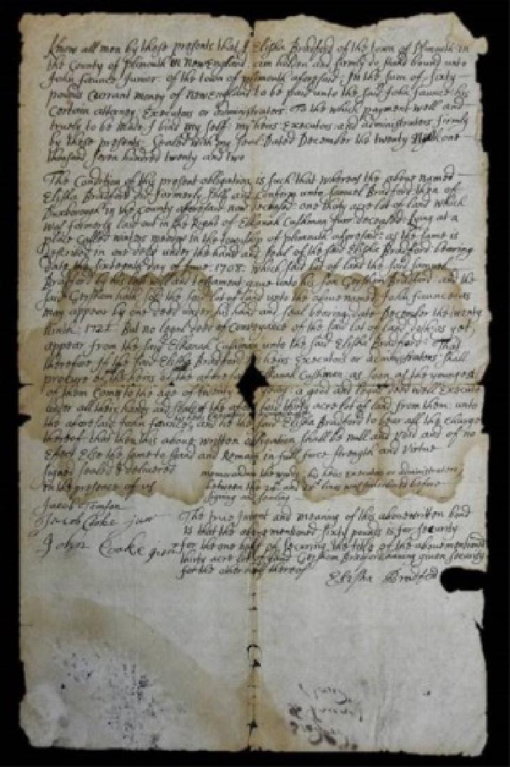 Deed, Elisha Bradford, Plimouth Massachusetts 1722