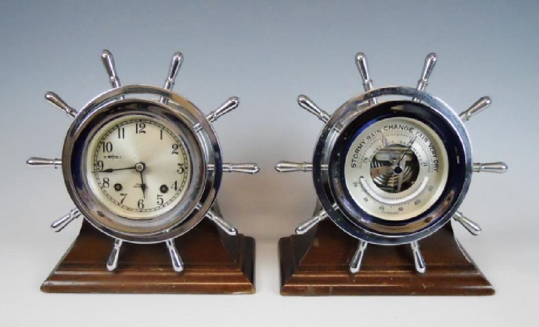 1950's Chelsea Ship's Clock, Barometer Set, (2pc)