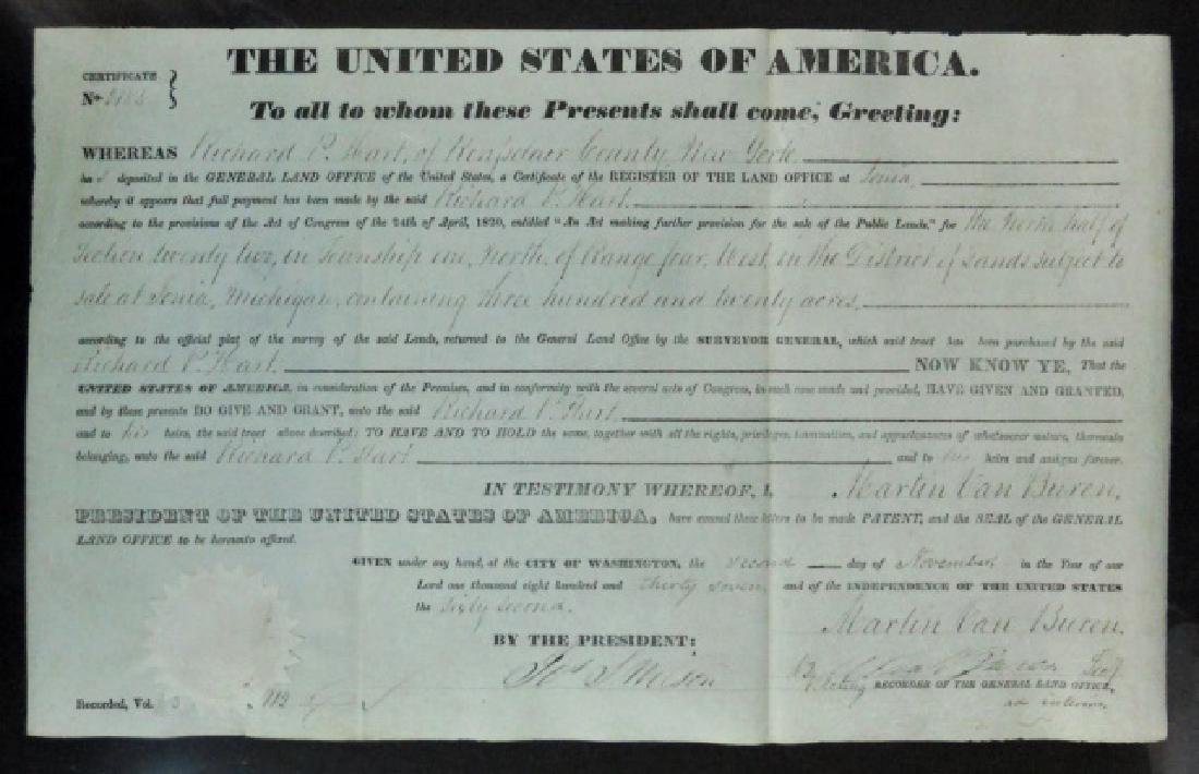 U.S. Land Grant, Michigan, Martin Van Buren 1837