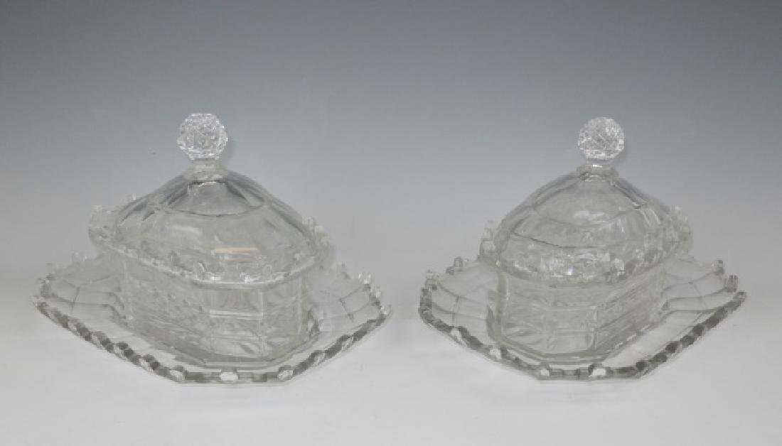 19th C. English Cut Glass Covered Dishes (2pc)